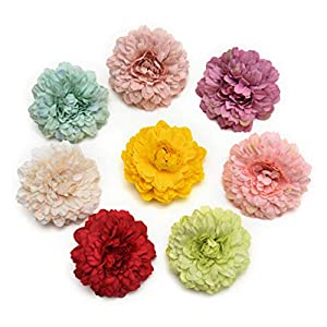 Fake flower heads in bulk wholesale for Crafts Silk Handmake Artificial Flowers Head Wedding Decoration DIY Party Home Decor Wreath Gift Box Scrapbooking Craft Fake Flowers 15pcs 6.5cm (Colorful) 15