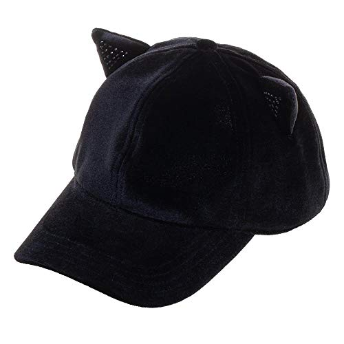 Sequin Cat Ear Adjustable Velcro Back Ball Cap Hat]()