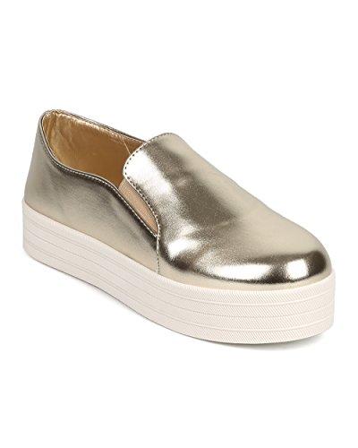Breckelles DI30 Women Metallic Round Toe Flatform Elastic Slip On Sneaker – Gold (Size: 6.0)