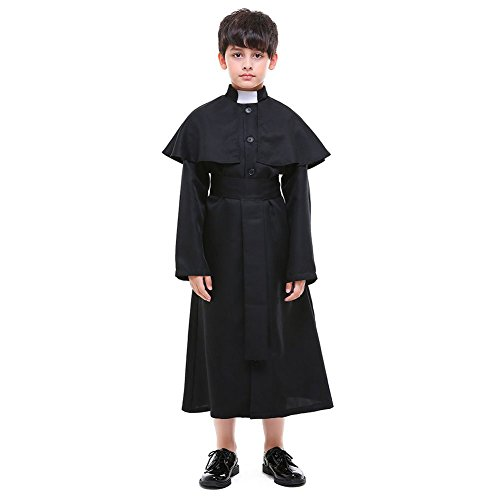 H&ZY Kids Halloween Medieval Minister Costume Robe Unisex Priest Choir Jumpsuit Small -