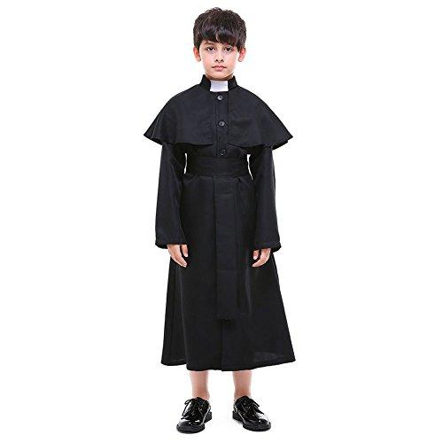 H&ZY Kids Halloween Medieval Minister Costume Robe Unisex Priest Choir Jumpsuit -