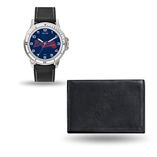 Rico Industries MLB Atlanta Braves Men's Watch and Wallet Set, Black, 7.5 x 4.25 x (Atlanta Braves Embossed Leather)