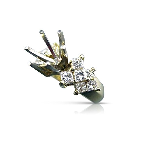 Milano Jewelers LARGE 1.65CT DIAMOND 14KT TWO TONE GOLD SEMI MOUNT ENGAGEMENT RING #18016