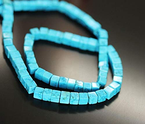 Beads Bazar Natural Beautiful jewellery Blue Turquoise Smooth Square Box Cube Gemstone Loose Craft Beads Strand 16