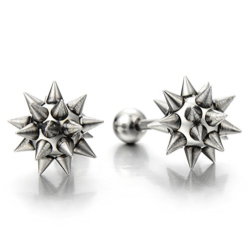 Hip Hop Stainless Steel Star Spike Hammer Stud Earrings for Man and Women, Screw Back, 2 Pcs by COOLSTEELANDBEYOND