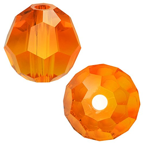 Swarovski Crystal, #5000 Round Beads 4mm, 12 Pieces, Tangerine