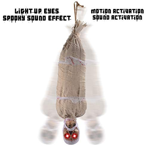 JOYIN 35 Halloween Animated Hanging Corpse with LED Light Up Eyes & Sound Effect for Indoor and Outdoor Decorations