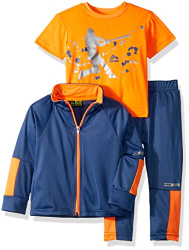 RBX Boys' Toddler Tricot Jacket, Tee and Pant Set, True Navy/Orange -