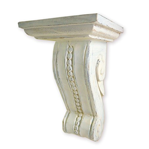 CinMin Handcarved Corbel Wood Wall Bracket/Floating Shelf in Antique White Finish, 10 Inch (White Medici) - Shelf Corbel