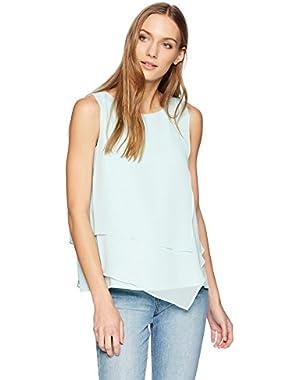 Women's Sleeveless Top with Asymmetrical Hem,