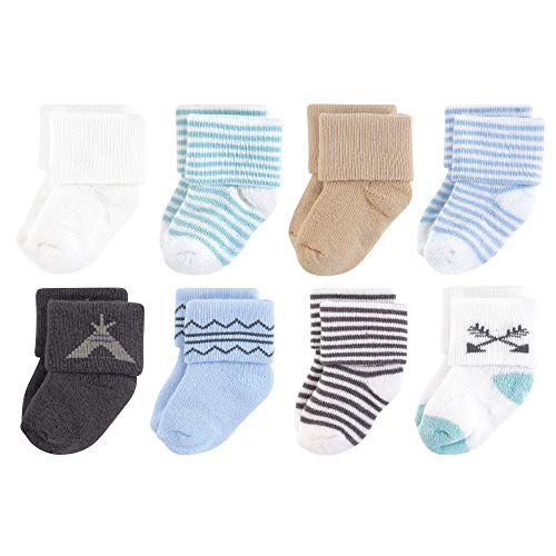 Green Baby Organic Cotton - Touched by Nature Baby Organic Cotton Socks, Charcoal Teepee 8Pk, 6-12 Months