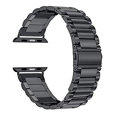 Oitom 42mm/44mm XL Large Bands Compatible with Apple Watch Series 4 44mm, Series 3/2/1 42mm, Men IWATCH, Heavy Stainless Steel Metal Link Bracelet Wristbands Strap