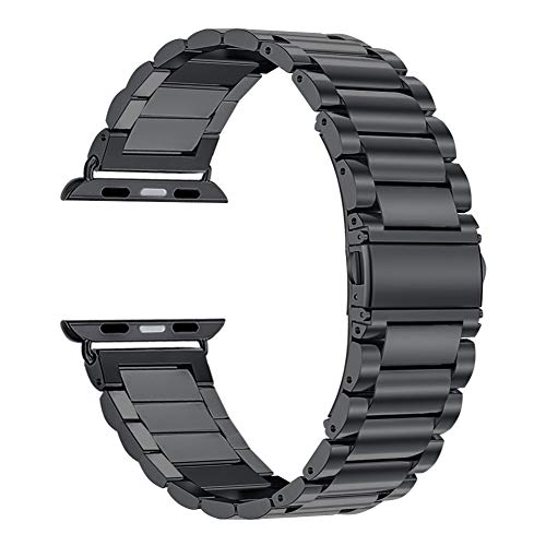 Oitom 42mm/44mm XL Large Bands Compatible with Apple Watch Series 4 44mm, Series 3/2/1 42mm, Men IWATCH, Heavy Stainless Steel Metal Link Bracelet Wristbands Strap (Space Black)