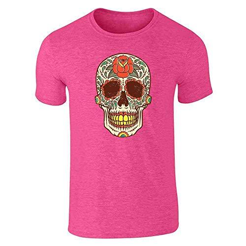 Rose Sugar Skull Halloween Costume Vintage Horror Heather Pink L Short Sleeve T-Shirt