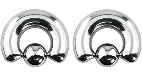 Forbidden Body Jewelry Pair of 0g 12mm Surgical Steel Captive Bead Ring Body Piercing Hoops, 10mm Balls (2pcs) (Septum Ring 0g)
