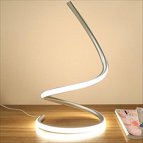 Modeen 40W Lampara de Mesa LED Espiral lampara de Escritorio Moderna del LED lampara de cabecera del Dormitorio acrilico Elegante Sala de Estar del Dormitorio (Silver)