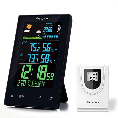 Moon Weather Station - Wittime Weather Stations Indoor Outdoor Thermometer Wireless, Weather Clock, Moon Phase, Barometer, Snooze Function 328ft Wireless Range (Type 2070)