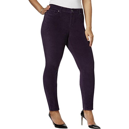 Style & Co. Womens Plus Velvet Mid-Rise Skinny Pants Purple 16W (Purple Pants Velvet)