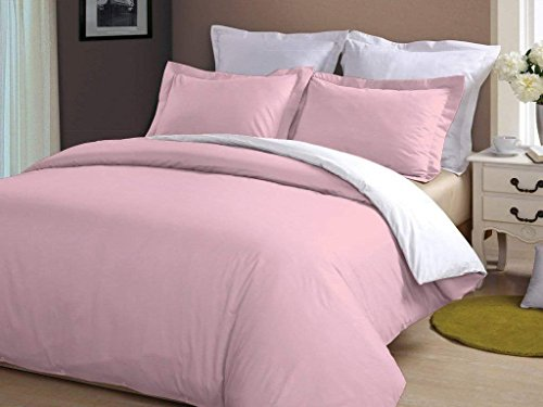 Sona Bedding Solutions Full/Queen Size 500TC 100% Organic Cotton 5PCs Reversible Duvet Set Solid Color Pink/White