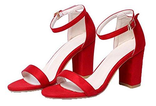 à Haut Rouge Boucle Talon Couleur Suédé Unie Femme d'orteil AgooLar Ouverture Sandales qt70zxP