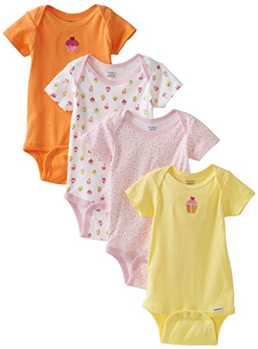 Gerber Baby Girls' 4 Pack Variety Flower Stripes Onesies Brand