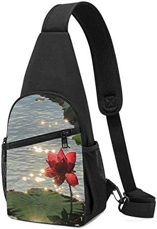 ボディ肩掛け 斜め掛け 綺麗な蓮 ショルダーバッグ ワンショルダーバッグ メンズ 軽量 大容量 多機能レジャーバックパック