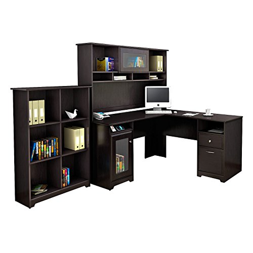 Cabot L Shaped Desk with Hutch and 6 Cube Bookcase in Espresso Oak