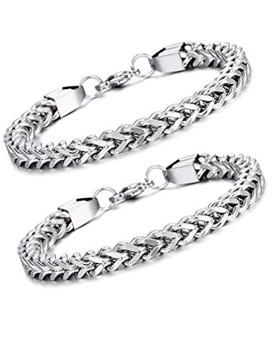 SOOWOOT 2PCS Heavy Link Chain Bracelets for Men Women 316L Stainless Steel Silver Gold Plated Punk Double Curb Cuban Rombo Link Bracelets Set 10/15mm 7-11inch (B)