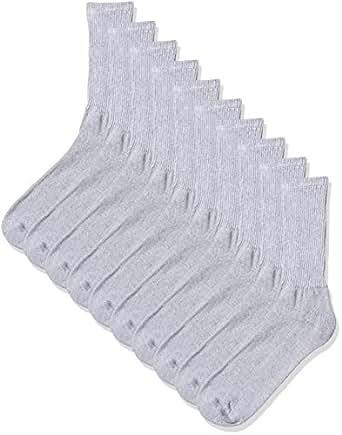 Gildan Men's Big and Tall Crew Socks (10 Pair Pack), Grey Shoe Size: 12-15