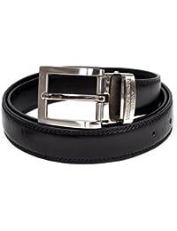 Subtle Sprig Pattern Men's Leather Belt