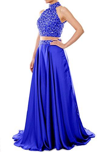 High Prom Two Blue Macloth Neck Chiffon Gown Long Piece Evening Dress Women Formal Royal qXwSR
