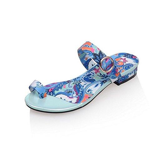 Amoonyfashion Womens Pu Tacco Basso Open Toe In Colori Assortiti Pull Su Sandali Blu