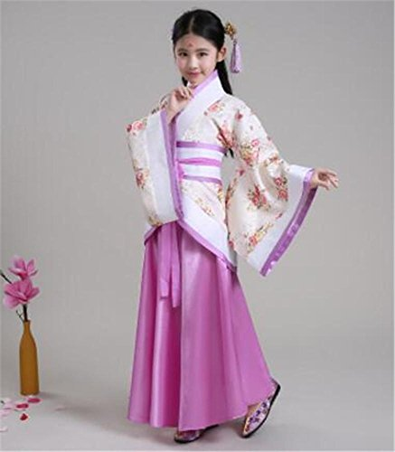 JINGYU Girls' Stage Performance costume/Dance Show Clothes/Chinese Hanfu/Children and Adults, purple, 140cm