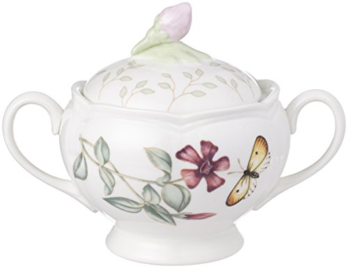 Lenox Butterfly Meadow Double Handled Sugar Bowl with Lid