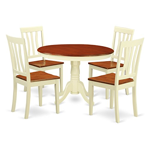 East West Furniture HLAN5-BMK-W 5 Piece Hartland Set, Buttermilk & Cherry