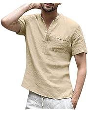Camisetas de Verano para Hombre, Manga Corta, Cuello Redondo, Mezcla de algodón con Botones, Color sólido, para Deportes, Blusa, Informal, con Bolsillo