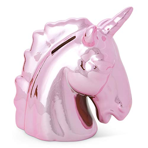 Tri-coastal Design Unicorn Piggy Coin Bank for Girls Metallic Pink Unicorn Money Banks for Kids - Large Ceramic Piggy Bank for Coins and Savings - Nursery Decor and Toy Bank Keepsake for a Baby Girl