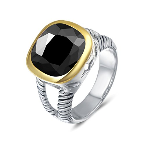 - UNY Ring Twisted Cable Wire Designer Inspired Fashion Brand David Vintage Love Antique Women Jewelry Gift (Black, 6)