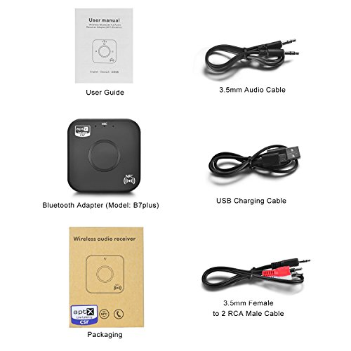 Bluetooth 4.2 Receiver Adapter/Car Kit,Csr aptX Low Latency,Kroaprao Wireless Bluetooth 3.5mm AUX and RCA HiFi Audio Receiver Devices 300mAh (10Hrs,NFC,Hands-Free Calling) for Home Stereo System by KROA PRAO (Image #6)