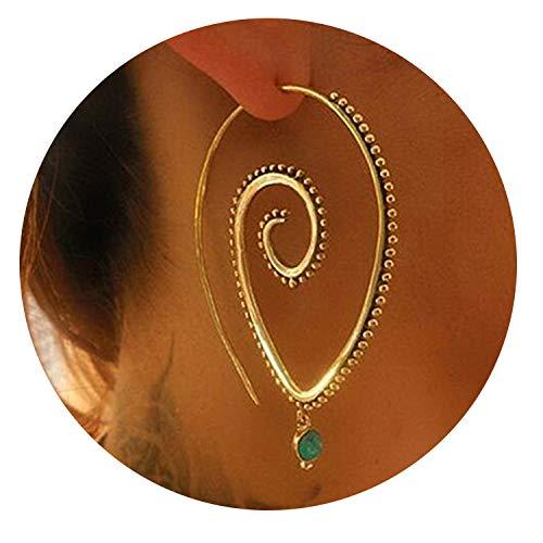 Luccaful Bohemian Round Spiral Drop Earrings Big Ethnic Heart Shaped Punk Whirlpool Gear Earrings for Women Fashion Jewelry CE638,5