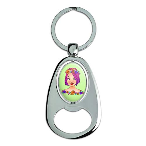 Graphics and More Classy Modern Day Hippie Flower Child Chrome Plated Metal Spinning Oval Design Bottle Opener Keychain