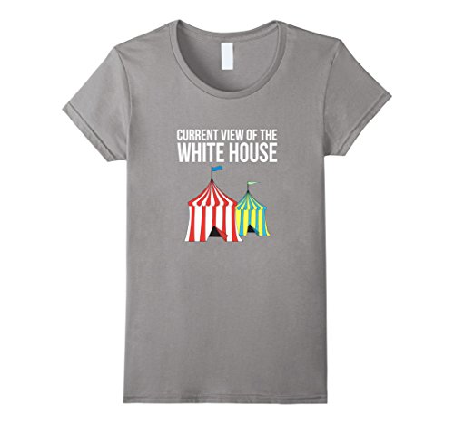 Womens Current View of the White House Funny Political T-Shirt Medium Slate