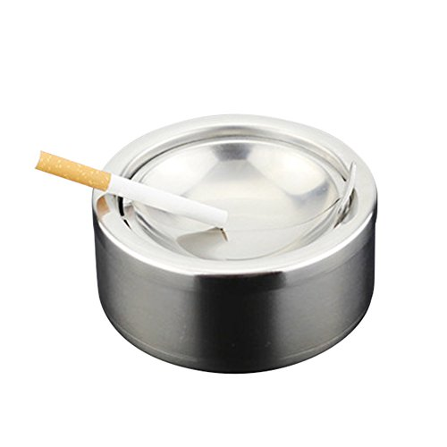 (Fivtyily Windproof Cigarette Ashtrays Portable Stainless Steel Ash Holder with Flip-top )