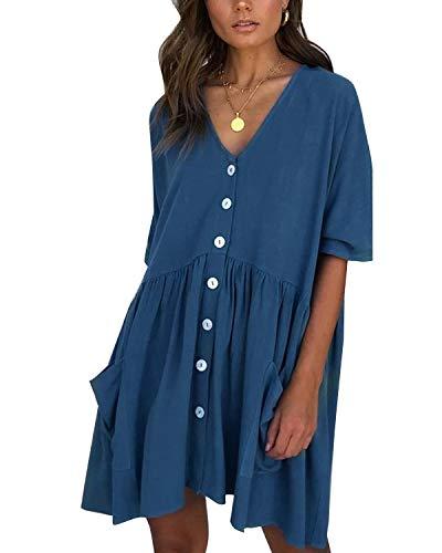 LANISEN Women Short Sleeve Button Front Tunic Dress V Neck Loose Swing Shift Dresses Blue L