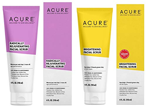 Acure Pore Clarifying Brightening Facial Scrub and Exfoliator Bundle with Moroccan Red Clay, Argan Extract, Argan Stem Cell and Chlorella, 4 Oz. Each