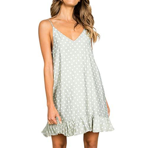 Women Summer Dress,KANGMOON Women Sexy V-Neck Sleeveless Sling Dot Printed Ruffled Hem Loose Mini Dress Green M