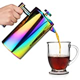 Rainbow French Press Coffee Maker - Iridescent Stainless Steel - Large (34oz/ 1L) Double-Wall Insulated Carafe Tea Pot, Cold Brew - Paperless Travel/Camping Brewer Kit Incl Scoop + 2 Extra Filters