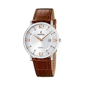 FESTINA F16476/4 - Reloj de caballero de cuarzo, correa de piel color marrón