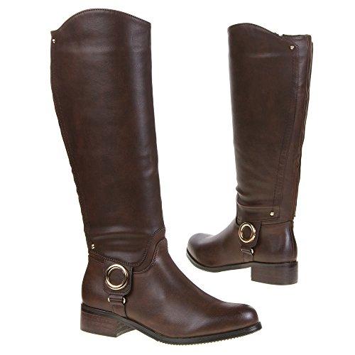 Ital-Design - Botas Antideslizantes de material sintético mujer marrón - marrón oscuro