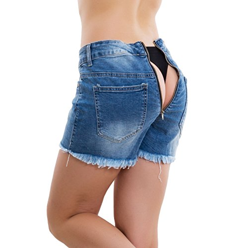 Cerniera Jeans Pantaloncini Pantaloni Shorts M6035 Zip Posteriore Apribile Blu Toocool Donna fOqXdcXw